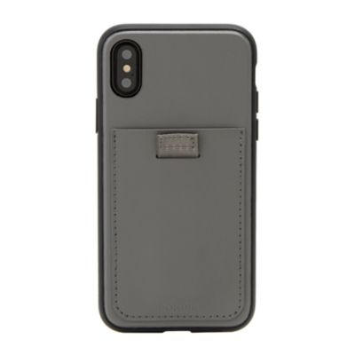 アウトレット iPhone XR GREY - LEATHER WALLET