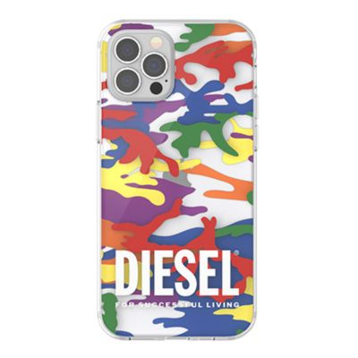 DIESEL iPhone 12 / iPhone 12 Pro Clear Case Pride Camo AOP SS21 colourful