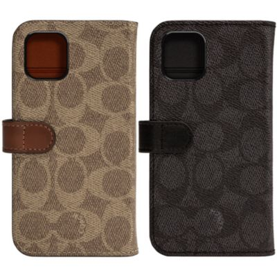 【アウトレット】 COACH iPhone 11 WALLET CASE SIGNATURE C FOLIO Khaki