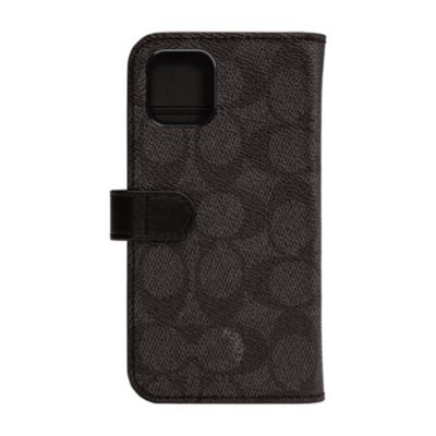 【アウトレット】 COACH iPhone 11 WALLET CASE SIGNATURE C FOLIO Black