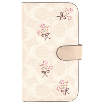 COACH iPhone12mini Folio Case ピンク ホワイト