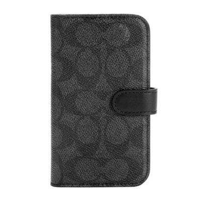 COACH iPhone12mini Folio Case - Signature C ブラック
