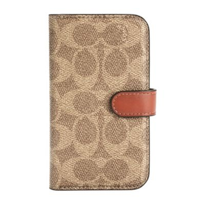 COACH iPhone12mini Folio Case - Signature C ブラウン