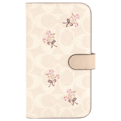 COACH iPhone12mini Folio Case ピンク ホワイト