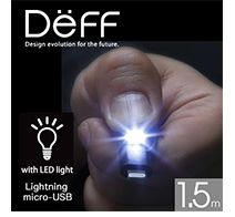 Deff Super Tangle-Free Flat Design Cable with LED Light 1.5m