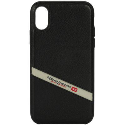 Diesel iPhoneXS iPhoneX ケース DIESEL COMOLD INLAY CASE Black Leather Diagonal Logo