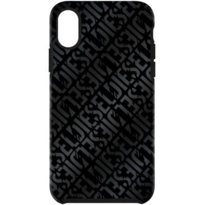 Diesel iPhoneXS iPhoneX ケース DIESEL COMOLD CASE Distressed Logo Pattern Black  Black Foil DoubleIML