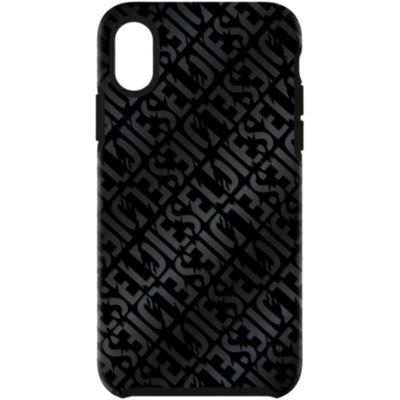 Diesel iPhoneXSMax ケース DIESEL COMOLD CASE Distressed Logo Pattern Black  Black Foil DoubleI ML