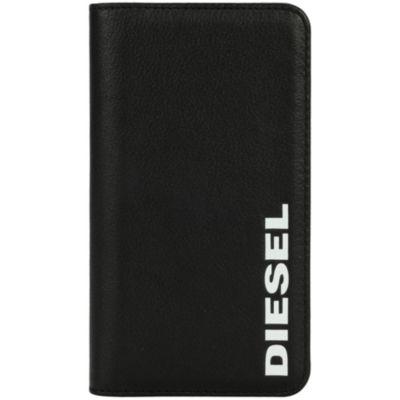 Diesel iPhoneXS iPhoneX ケース 手帳型 DIESEL 2IN1 FOLIO CASE Black Leather White Vertical Logo