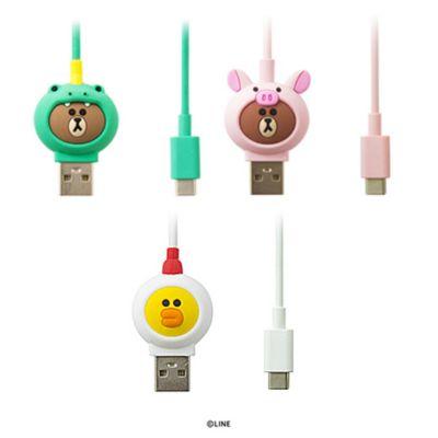 USB Type-C ケーブル LINE FRIENDS JUNGLE BROWN(ラインフレンズ ジャングル ブラウン)充電 データ転送 公式ライセンス商品