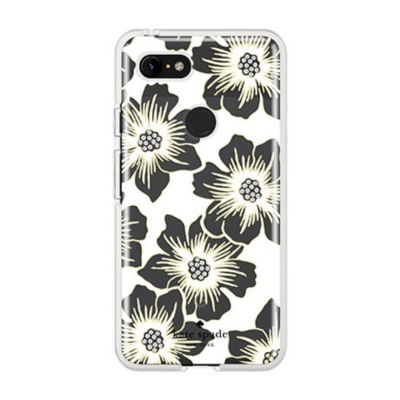 Kate Spade New York Reverse Hollyhock Floral Clear Cream with Stones for Pixel 3 XL