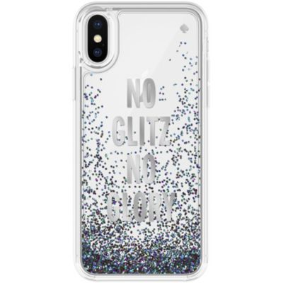 Kate Spade iPhoneXS iPhoneX ケース kate spade new york Liquid Glitter NO GLITZ NO GLORY