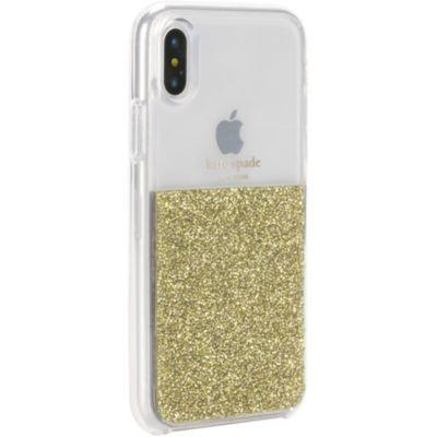 Kate Spade iPhoneXS iPhoneX ケース kate spade new york HALF CLEAR CRYSTAL