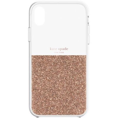 Kate Spade iPhoneXR ケース kate spade new york HALF CLEAR CRYSTAL ROSE GOLD