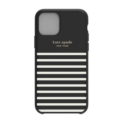 SoftBank限定モデル kate spade Soft Touch Case FEEDER STRIPE black / white for iPhone 11 Pro