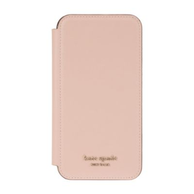 【アウトレット】 kate spade iPhone 11 Inlay Folio pale vellum pu