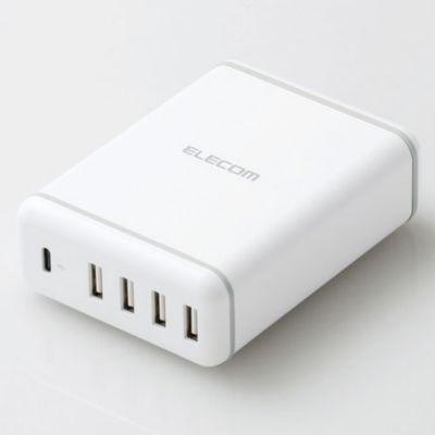 エレコム スマホ・タブレットAC充電器/USB-A4ポート/Type-C1ポート