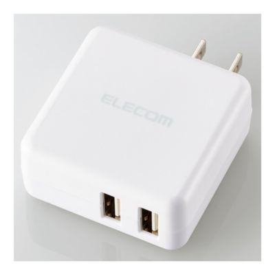 エレコム スマートフォン・タブレット用AC充電器/3.6A出力/USB-Aメス2ポート/おまかせ充電搭載