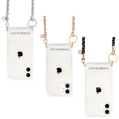 PHONECKLACE iPhone12 iPhone12Pro チェーンショルダーストラップ付クリアケース