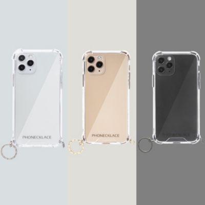 PHONECKLACE iPhone12 iPhone12Pro ストラップ用リング付クリアケース