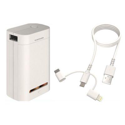 多摩電子工業 モバイルバッテリー 乾電池 3 in 1 ケーブル 乾電池6本 交換式 充電器 USB iPhone Type-C