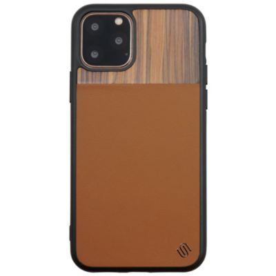 UUNIQUE iPhone11 ECO LEATHERF GENUINE WOOD BACK SHELL