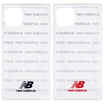 New Balance iPhone11 スクエア型TPUクリアケース ロゴボーダー